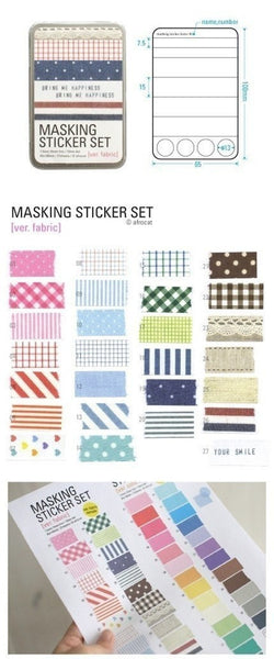 Fabric Pattern Masking Stickers - 27 sheets in tin box - CharmTape - 2
