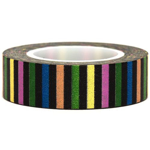 Black Stripes Washi Masking Tape Roll 15mm WT901 - CharmTape
