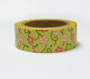 CRAZY SALE Green Sakura Flowers Washi Tape 15mm x 5m WT858 - CharmTape
