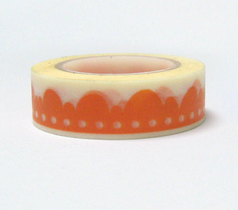 Orange Scallop lace Washi Tape 15mm x 11 yards WT902 - CharmTape - 1