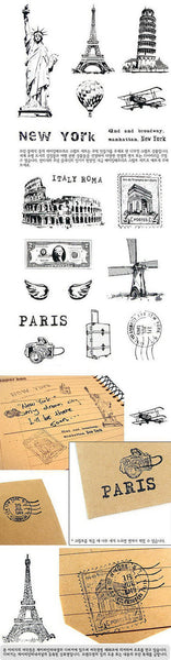 Wooden Cute Deco Rubber Stamp Set (1 wooden box, 15 stamps) eiffel towers, European holidays - CharmTape - 4