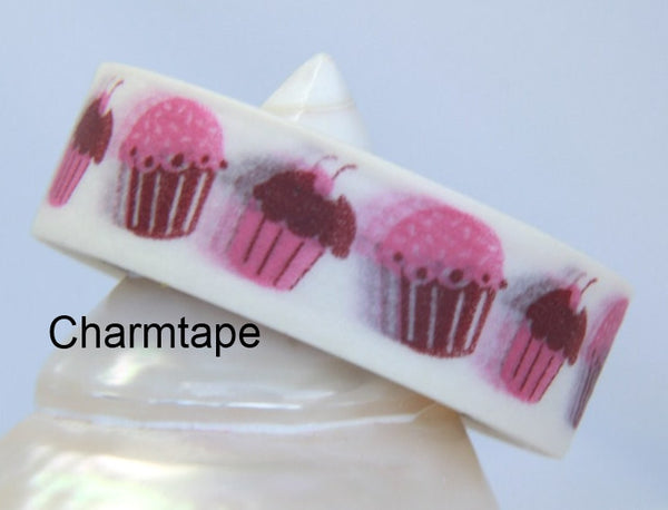 Pink cupcake cake on White Washi Tape Roll WT25 - CharmTape - 1