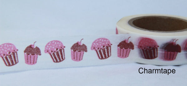 Pink cupcake cake on White Washi Tape Roll WT25 - CharmTape - 2
