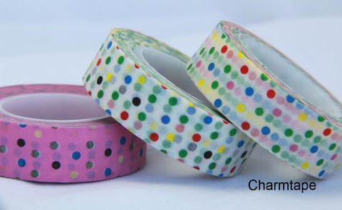 Colorful Polka dots Washi Tape 15mm x 10m WT31 - CharmTape - 1