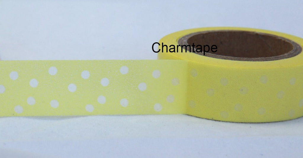 Yellow polka dots Washi Tape 15mm x 10m WT32 - CharmTape - 1