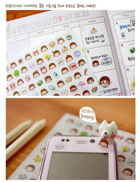 Momoi transparent journal Stickers - 6 sheets - CharmTape - 4
