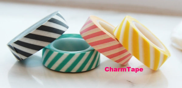 Stripes Washi Masking Tape Roll 15mm WT38 - CharmTape - 1