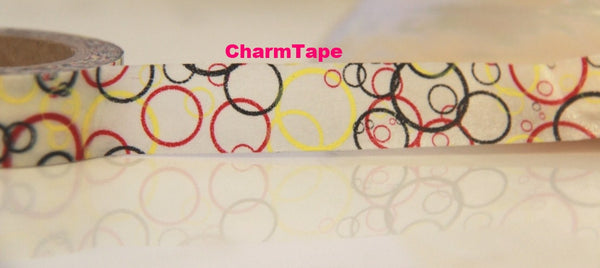 Circle Print on White Washi Masking Tape 15mm x 10 WT73 - CharmTape - 3