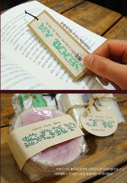 Vine Alphabet Rubber Stamps Uppercase letters (box, 36 stamps) calligraphy style - CharmTape - 4