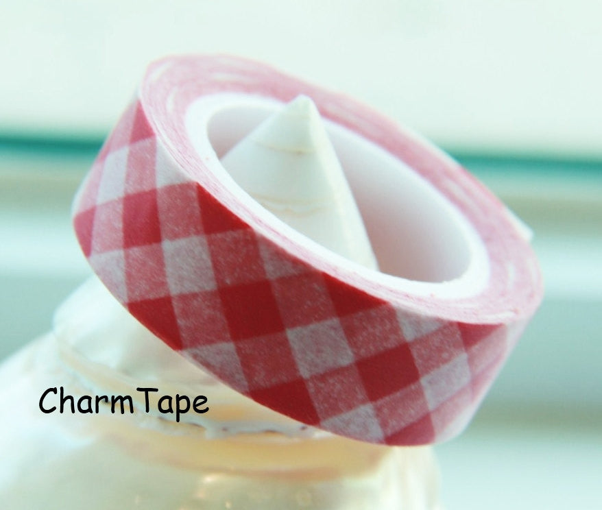 Washi Tape Pink Plaid WT88 - CharmTape - 1