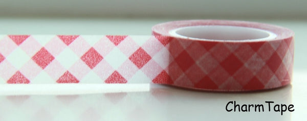 Washi Tape Pink Plaid WT88 - CharmTape - 2