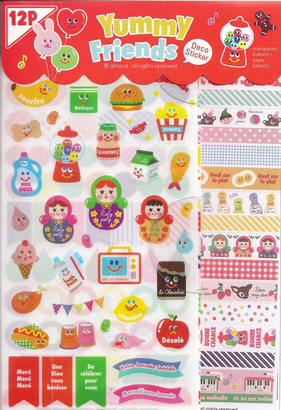 Yummy Friends Planner Stickers - 12 sheets set - CharmTape - 1