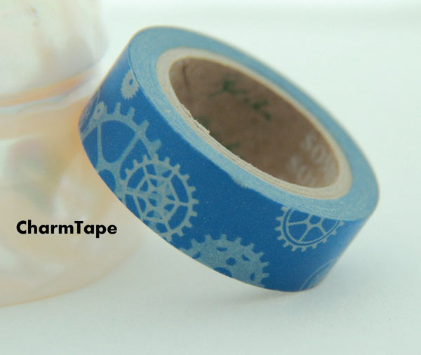 Machanic Parts on blue Washi Tape 15mm x 10m WT119 - CharmTape - 1