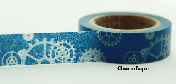 Machanic Parts on blue Washi Tape 15mm x 10m WT119 - CharmTape - 2