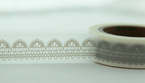 Lace design on white Washi Tape Roll 11yards WT124 - CharmTape - 1