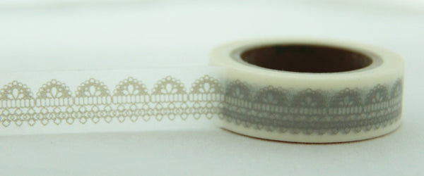 Lace design on white Washi Tape Roll 11yards WT124 - CharmTape - 2