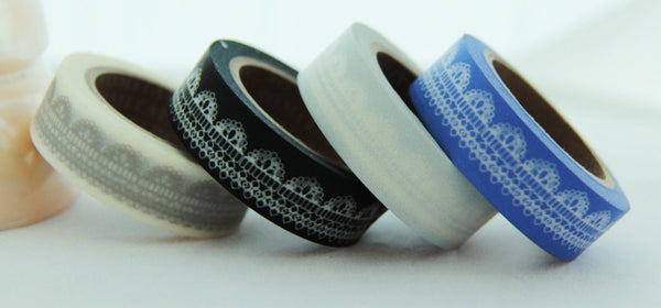 Lace design on white Washi Tape Roll 11yards WT124 - CharmTape - 4