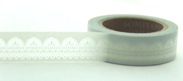Lace design on Grey Washi Tape 11yards WT125 - CharmTape - 2