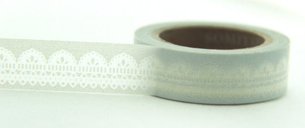 Lace design on Grey Washi Tape 11yards WT125 - CharmTape - 1