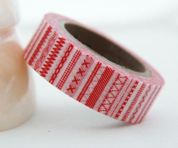 Washi Masking Tape set 3 Full Rolls - Festive Red WT160 - CharmTape - 2