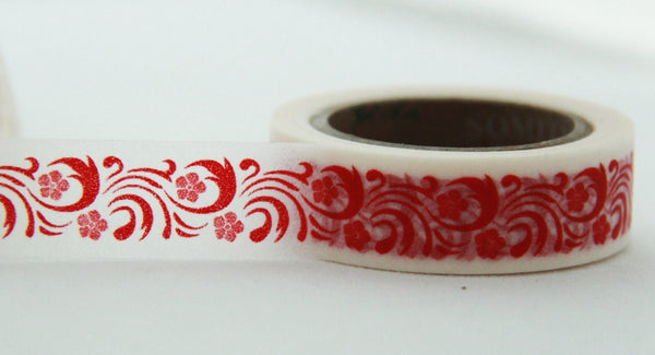 Washi Masking Tape set 3 Full Rolls - Festive Red WT160 - CharmTape - 3