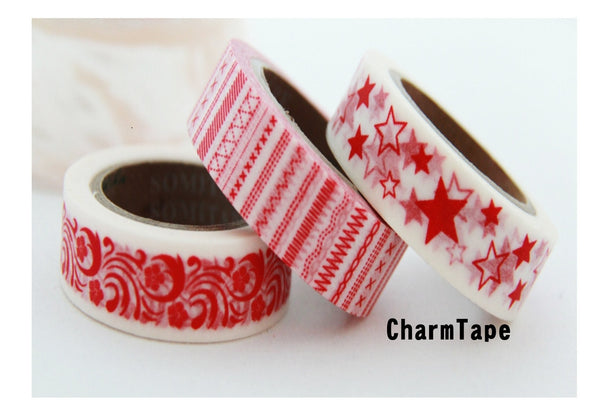 Washi Masking Tape set 3 Full Rolls - Festive Red WT160 - CharmTape - 1