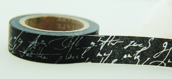 White Script on Black Washi Tape Full Roll 11yards WT162 - CharmTape - 2