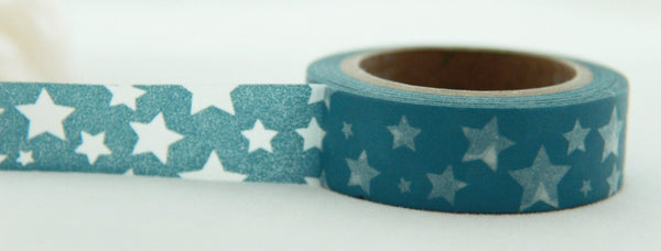 Translucent Stars on Blue Washi Masking Tape Full Roll 11yards WT171 - CharmTape - 1