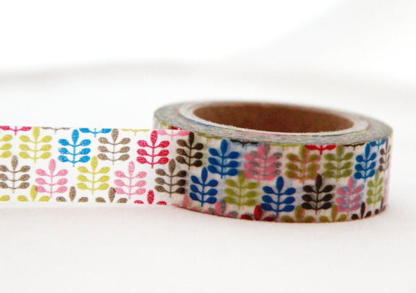 Washi Tape Multi Color Leaves Design Full Roll 11yards WT177 - CharmTape - 2