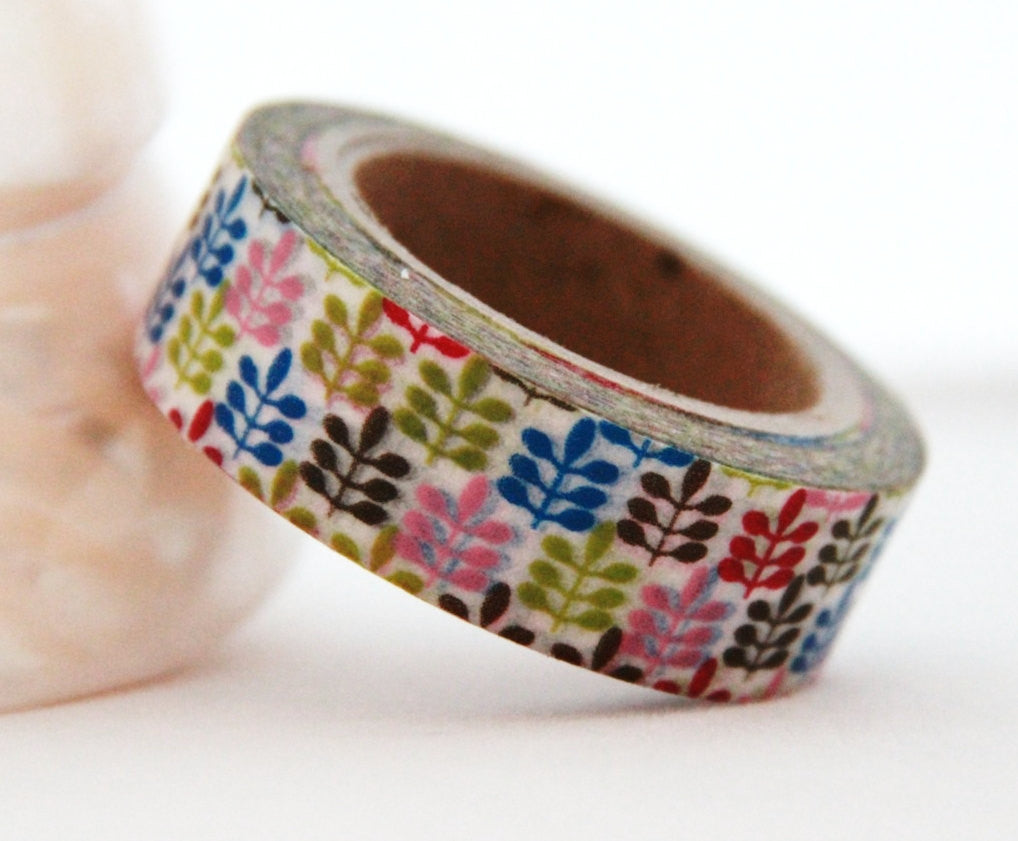 Washi Tape Multi Color Leaves Design Full Roll 11yards WT177 - CharmTape - 1