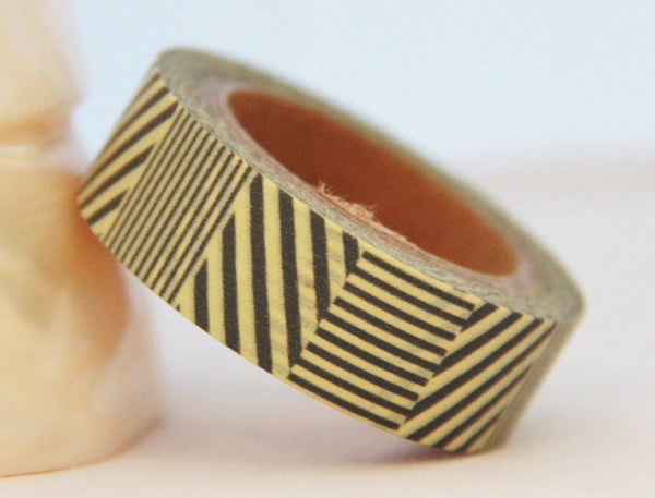 Grey Stripes Washi Tape 15mm 11yards WT184 - CharmTape - 1