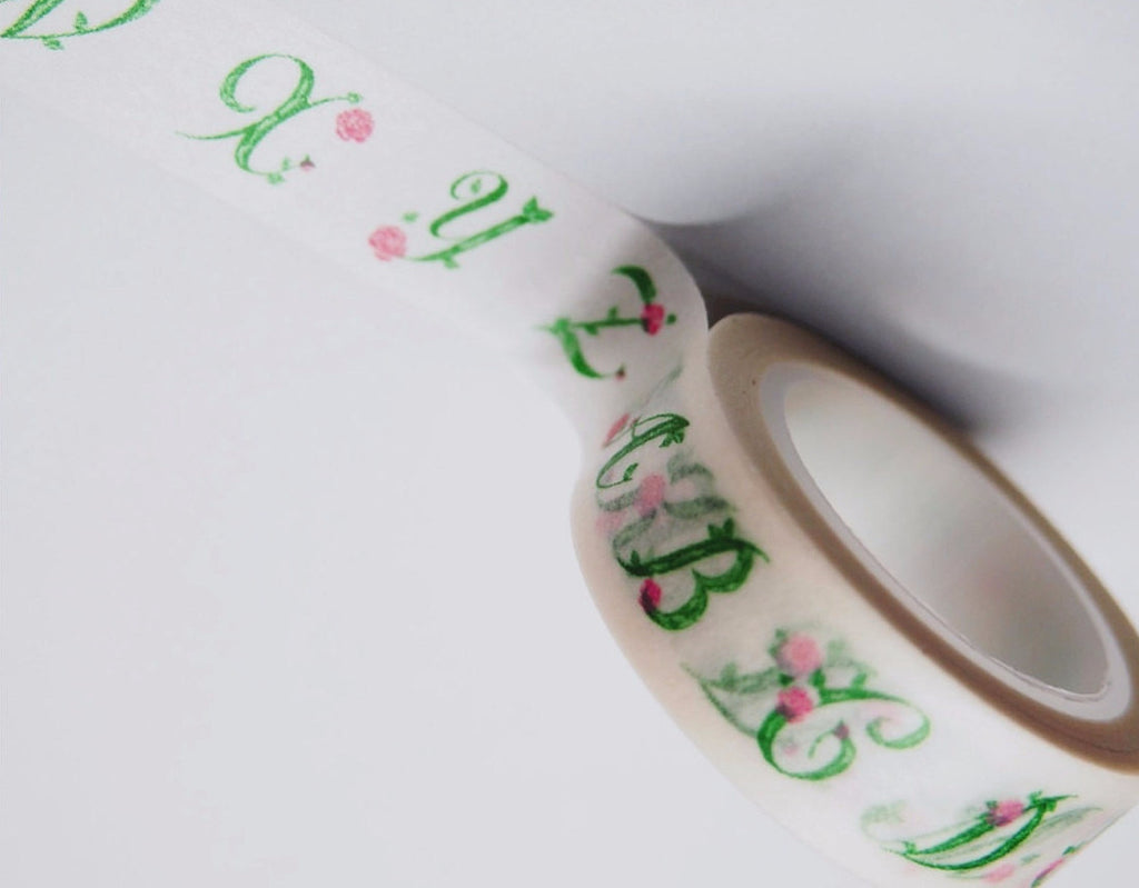 Shabby Chic Vine Alphabets Washi Tape 15mm x 11yards WT203 - CharmTape - 1
