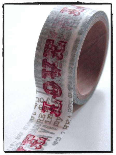 Vintage inspired Love words Washi Tape Big Roll 20mm x 5m WT207 - CharmTape - 2