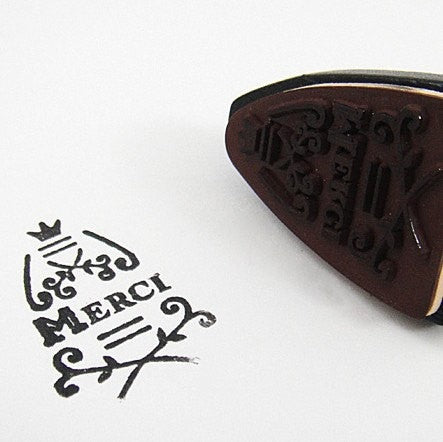 Iron wood mounted Rubber Stamp - Merci (vintage inspired) thank you - CharmTape - 2