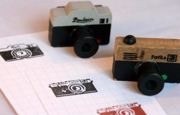 Retro Camera wood mounted Rubber Stamp - CharmTape - 1