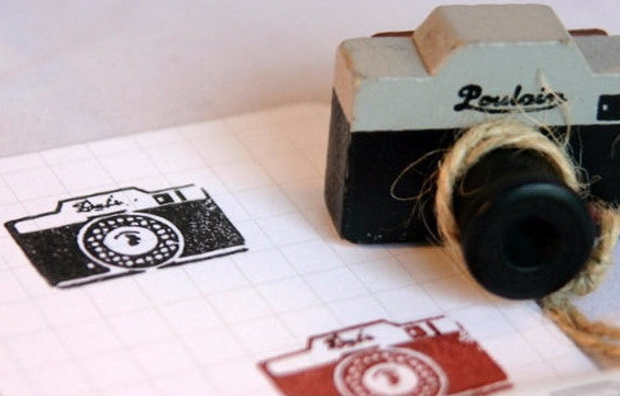 Retro Camera wood mounted Rubber Stamp - CharmTape - 2