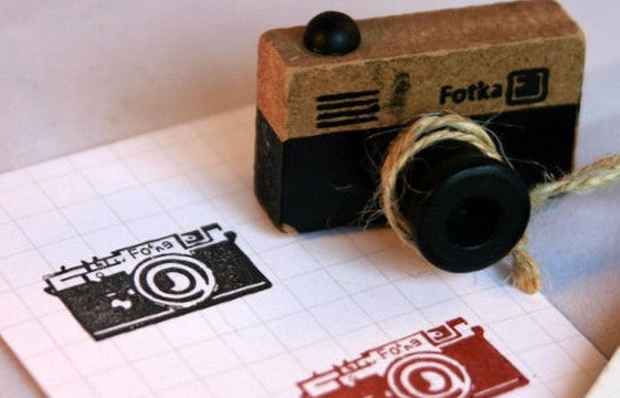 Retro Camera wood mounted Rubber Stamp - CharmTape - 3