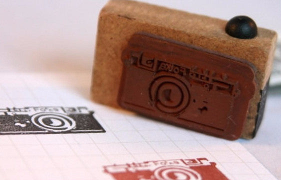 Retro Camera wood mounted Rubber Stamp - CharmTape - 5