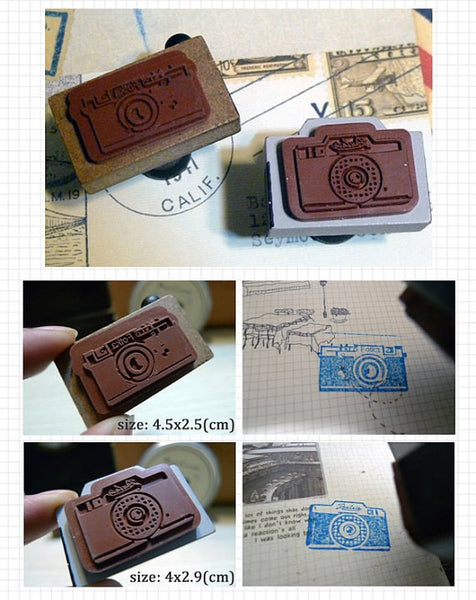 Retro Camera wood mounted Rubber Stamp - CharmTape - 4