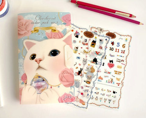 Jetoy Choo Choo cat Paper and Translucent Stickers 8 Sheets (E) - CharmTape - 1