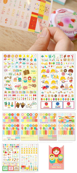 Yomi Yomi Matrioska / Babushka Stickers 8 sheets - CharmTape - 2