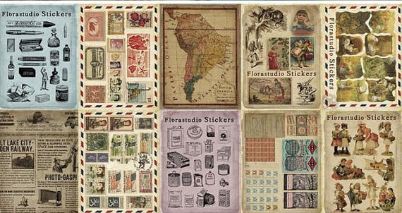 Retro postal Paper Sticker 10 Sheets ss521 - CharmTape - 4