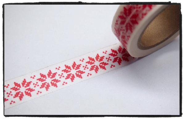 Festive Snow flakes Washi Tape 15mm x 10m WT246 - CharmTape - 8