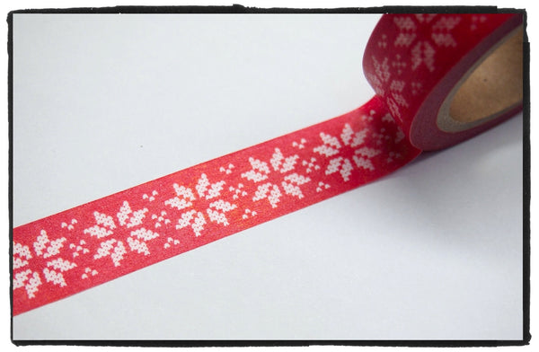 Festive Snow flakes Washi Tape 15mm x 10m WT246 - CharmTape - 7