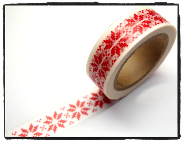 Festive Snow flakes Washi Tape 15mm x 10m WT246 - CharmTape - 9