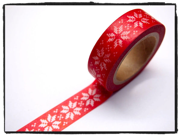 Festive Snow flakes Washi Tape 15mm x 10m WT246 - CharmTape - 6