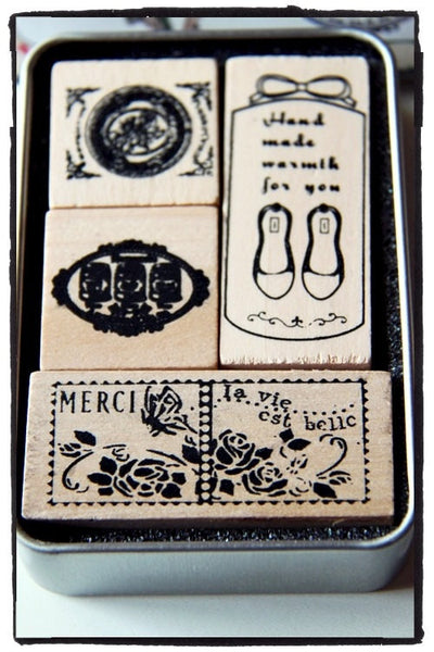 Vintage wood mounted Antique French theme Rubber Stamp 4 pieces in Tin Box - CharmTape - 2