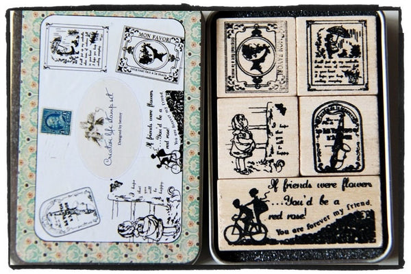Vintage wood mounted Antique Rubber Stamp 5 pieces in Tin Box - CharmTape - 2