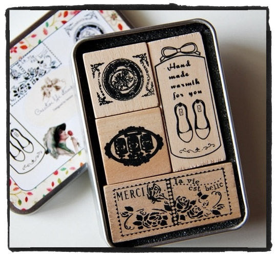 Vintage wood mounted Antique French theme Rubber Stamp 4 pieces in Tin Box - CharmTape - 1