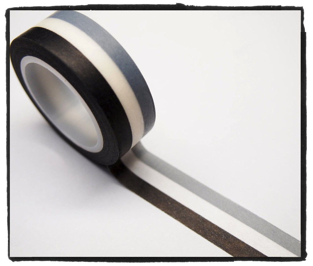 Stripes Washi Tape WT264 - black, white, grey - CharmTape - 1